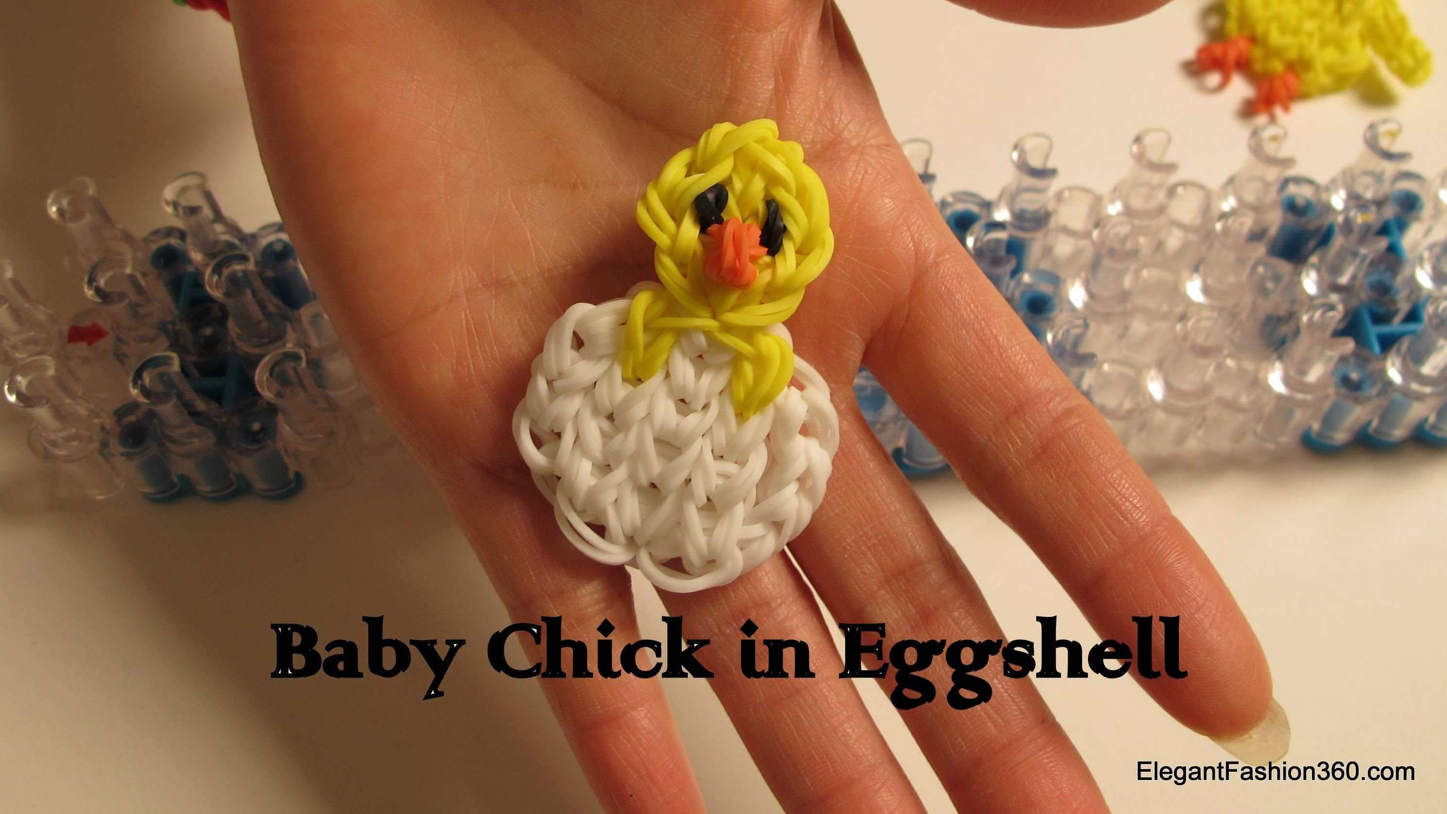 Rainbow Loom Baby Chick in eggshell - How to-Easter Series