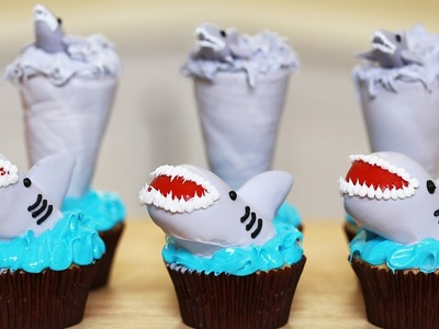 SHARKNADO CUPCAKES - NERDY NUMMIES - SHARK WEEK