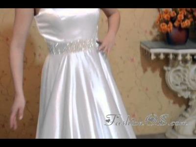 White Empire Satin Dress For Prom Night-Dressforquinces.com