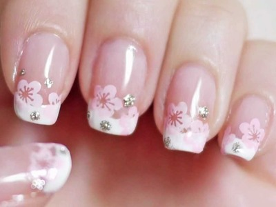 Cherry Blossom French Manicure Nails (Konad Stamping with Freehand Option)