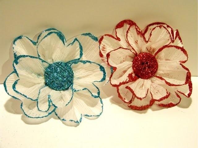 Flower Friday- Glittered Crepe Paper Flower