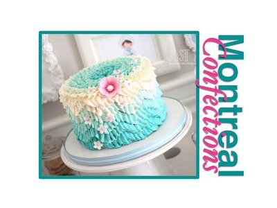 How to make a chevron pattern on a cake - Teal ombre design