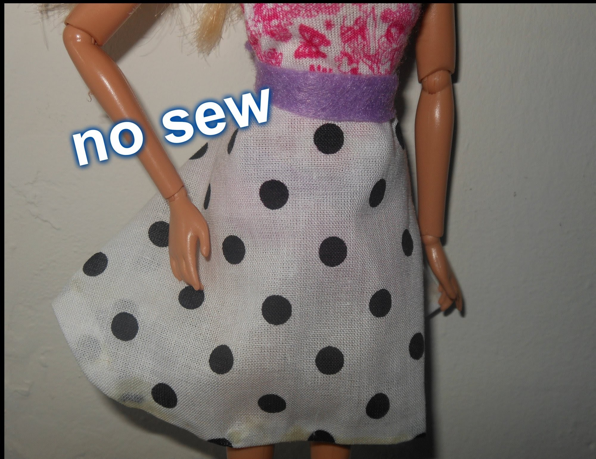 How to make doll skirt, circle skirt, no sew, doll clothes