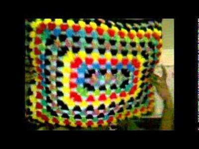 Pillow using rectangle granny square