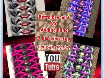 Rainbow Loom Band Retro Bracelet V2 BLING