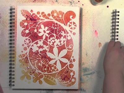 Stenciling FUNdamental using spray inks and StencilGirl stencils by Carolyn Dube