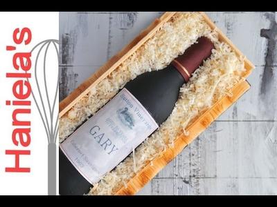 Wine Bottle in a Wood Crate Cake Tutorial, How To Make Gumpaste Wine Bottle, HANIELA'S