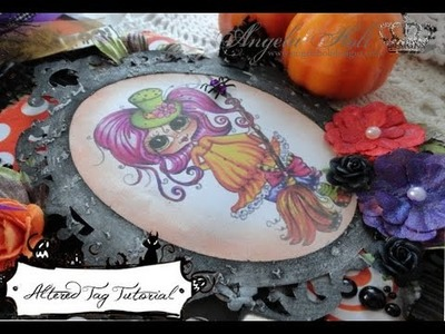 """Altered Halloween Tag featuring """"The Besties"""" by Sherri Baldy Designs"""