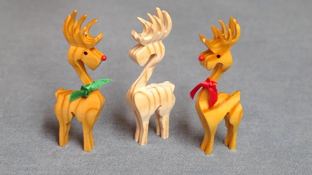 Christmas 3D Reindeer Ornament - Compound Cuts on the Scroll Saw