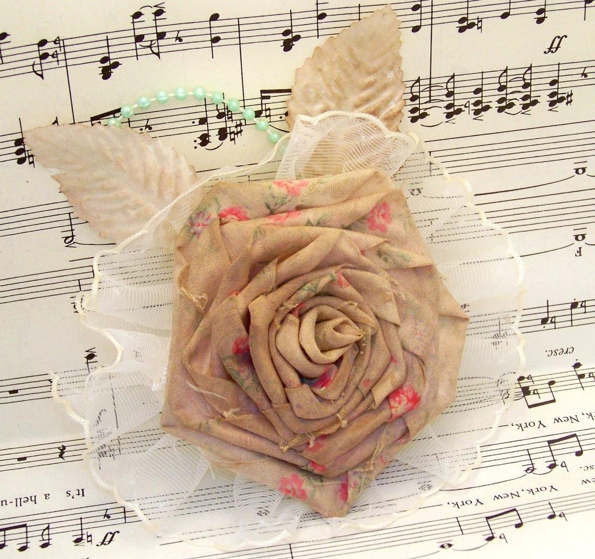 Flower Friday- Ribbon Rose from Fabric Flower Tutorial