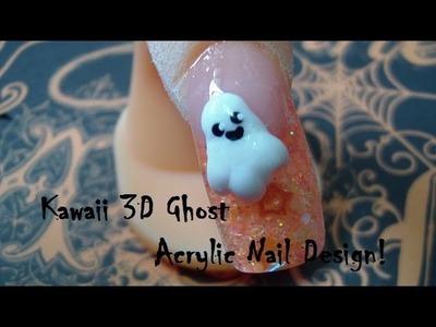 Halloween Acrylic Nail Design w.Kawaii 3D Ghost!