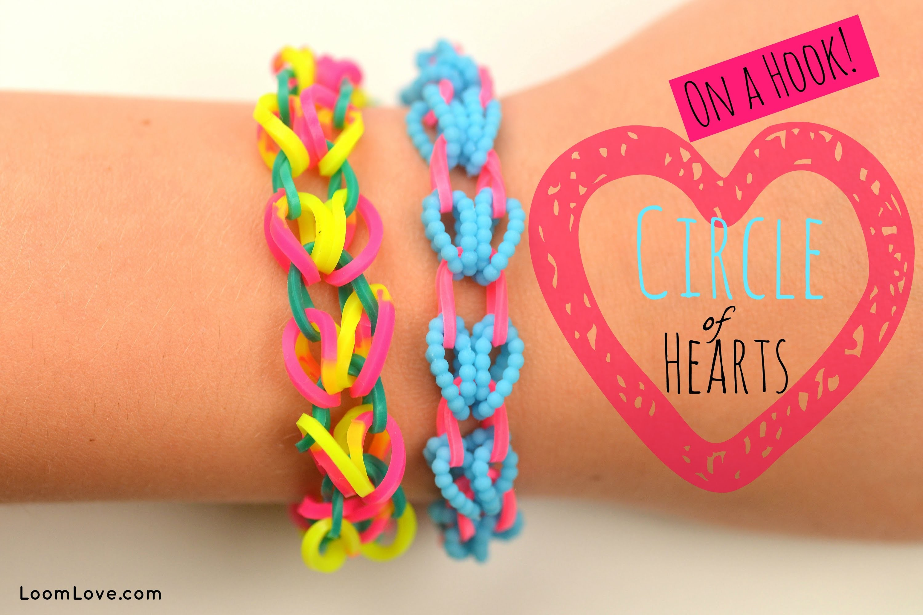 How to Make a Rainbow Loom Circle of Hearts (on a Hook)