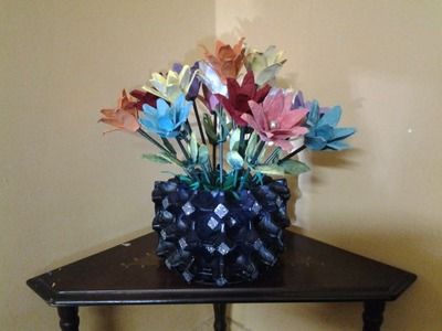 How to make an Egg tray Flower Vase and Flowers