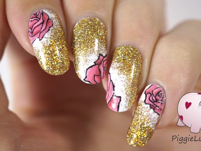 How to paint pink roses, nail art tutorial by PiggieLuv