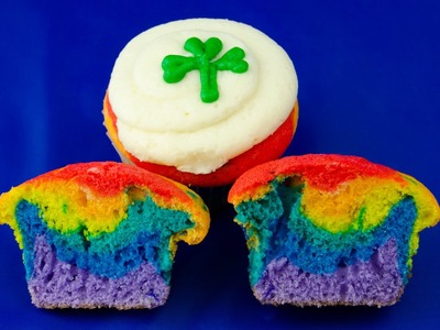 Making Rainbow Cupcakes perfect for St. Patrick's Day by Cookies Cupcakes and Cardio