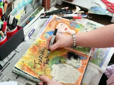 * Mixed Media Art Journal Page - Toss the Feathers *