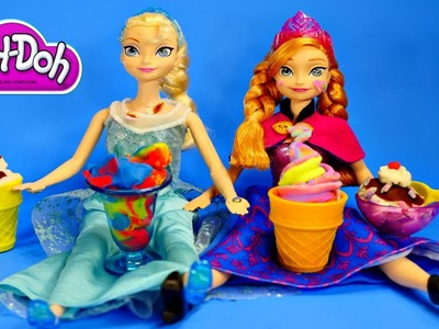 Play Doh - Disney Frozen Elsa Anna Playdough Magic Swirl Ice Cream Shoppe Barbie Doll Episode