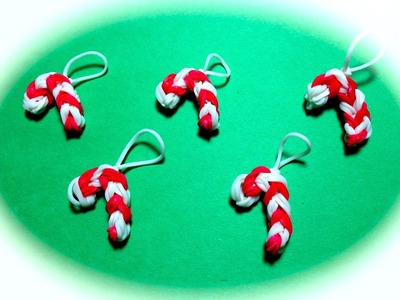 Rainbow Loom Band Candy Cane Charm for Christmas