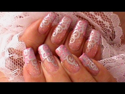 Silver Swirls Anniversary Nail Art Design Tutorial
