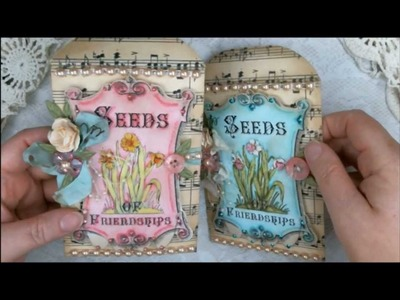 Spectrum Noir Markers Tutorial Vintage Seed Packet Pro 31 Designs (Part one)
