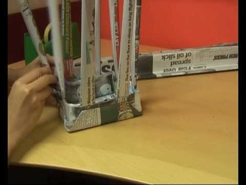 Talking Organics : How to make a waste paper basket.  With newspapers!