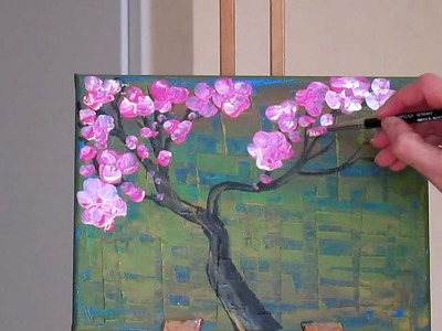 Tanja Bell How to Paint Cherry Blossom Tree Painting  Tutorial Lesson Technique Pink White Blossom