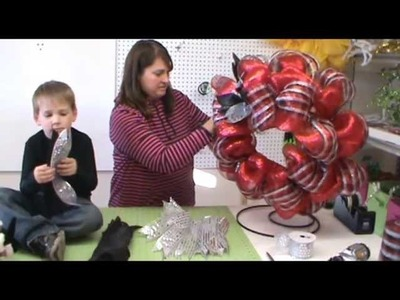Trendy Tree Video Tutorial Red Wreath with RAZ Silver Bell Elves
