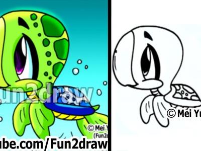 Turtles - How to Draw a Cartoon Sea Turtle - Draw Animals - Fun2draw