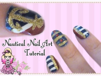 Basic Nautical Nail Art Tutorial - Violet LeBeaux