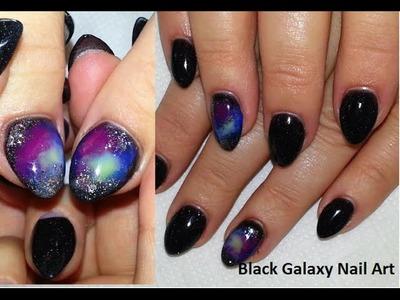 Black Galaxy Nail Art + Almond Acrylic Nails