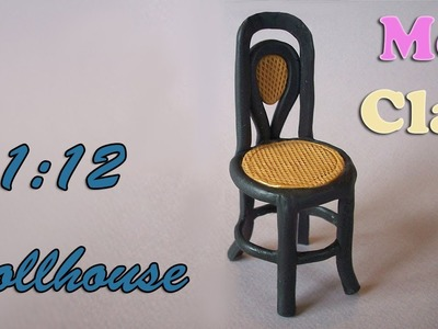 DIY Dollhouse polymer clay chair - Sedia scala 1:12 - Casa de muñecas: Silla