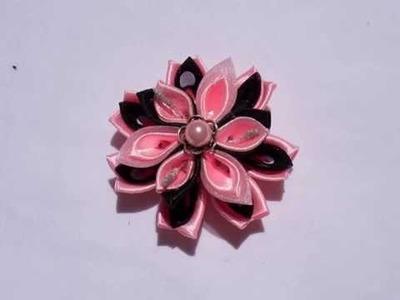 DIY Pink Kanzashi hair accessories by NinaS