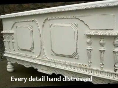 Hand Painted White Distressed Shabby Chic Blanket Chest Furniture