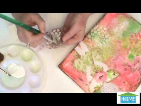 Linda Peterson - How to Stamp with Bubble Wrap on Collage Canvas