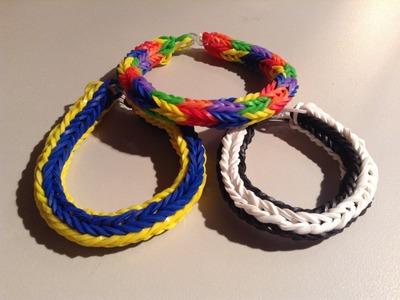 New Rainbow Loom Double Cross Fishtail Bracelet Round 4 Pin - Finger Loom