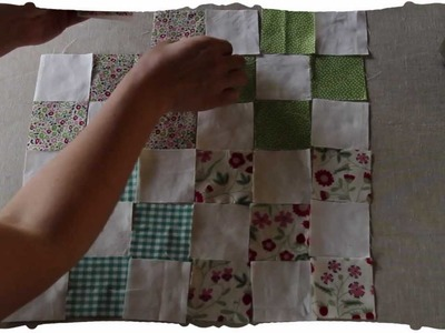 """Quilting squares: patchwork tutorial. """"nine-patch"""" pattern. old school."""