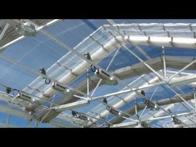 Retractable Roof Greenhouse with tilapia, lettuce, herbs and cucumbers