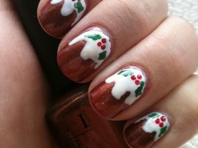 Shimmering Christmas Pudding. Plum Pudding Nail Tutorial