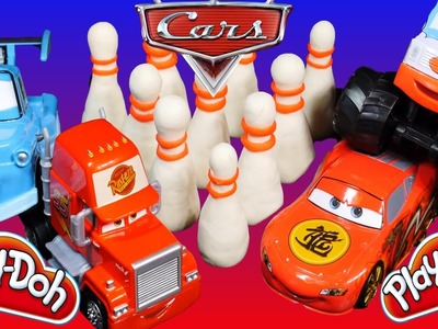 Disney Cars 2 Lightning Mcqueen Tokyo Mater Mack And I-Screamer Toys go Play Doh Bowling
