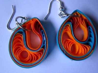 Handmade Jewelry - Paper Quilling Teardrops Earrings (Jaali Pattern 4)