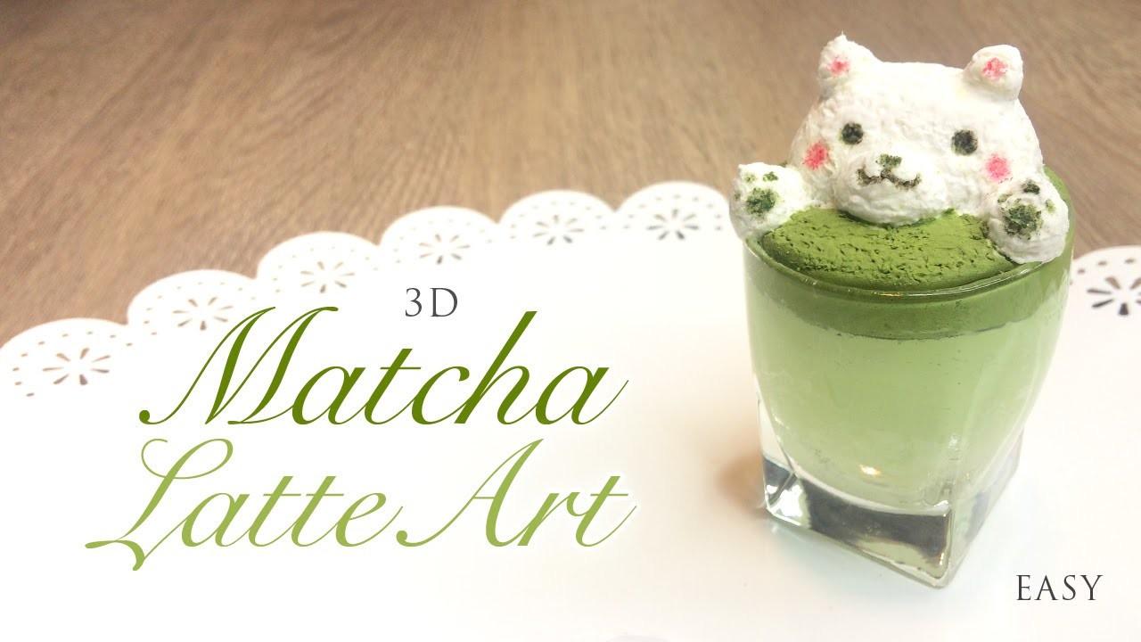 How to Make 3D Latte Art - Matcha Green Tea Paper Clay Tutorial