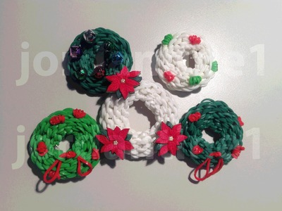 How To Make A Rainbow Loom Christmas Holiday Wreath Charm - Part 1