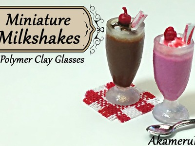 Miniature Milkshakes; in polymer clay glasses - Dollhouse tutorial