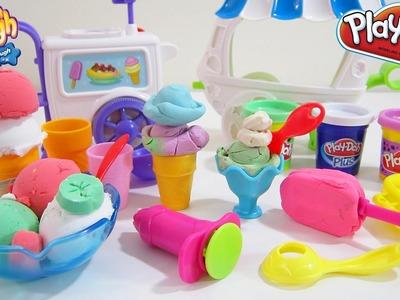 Play-Doh Sweet Shoppe Ice Cream Sundae Cart Playset vs. Moon Dough Ice Cream Set!