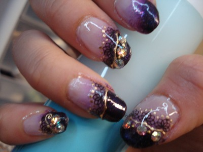 Tutorial: Purple Sparkle Gradient Bling Nails with Lace
