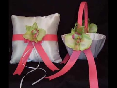 Wedding Accesories Flower Girl Basket & Ring Bearer Pillow Set