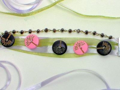 Boho Ribbon & Button Bracelet