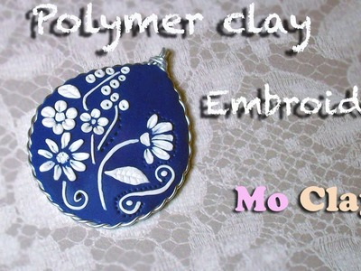 Cameo, cabochon polymer clay. fimo tutorial - Embroidery and wire
