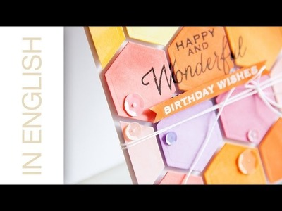 CASD #28: Colorful Hexagon Background Card with Layered Stamping