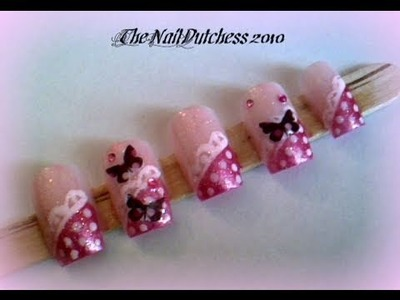 ~ Girly Tuesday ~ Nail Art ~ Butterflies With Polka Dots ~ #1
